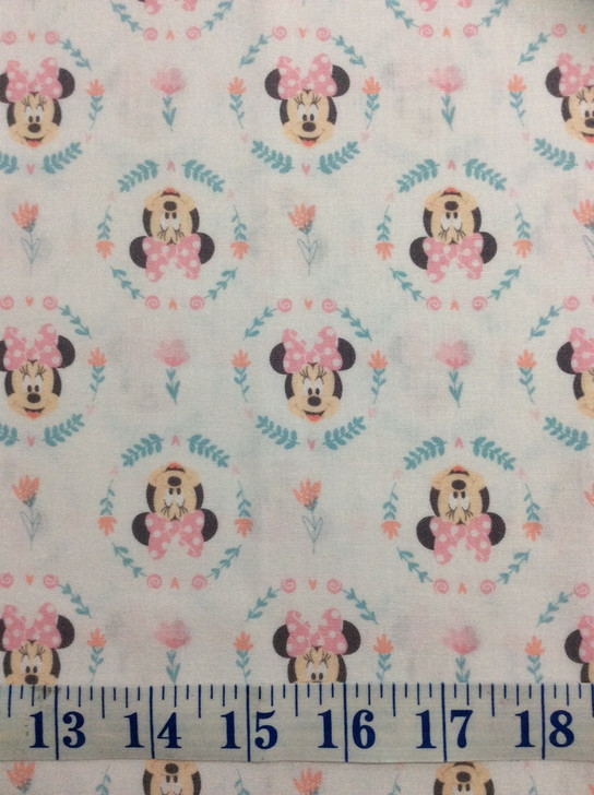 Disney Minnie Mouse Flowers Circles Little Meadow Cotton Quilting Fabric 1/2 YARD