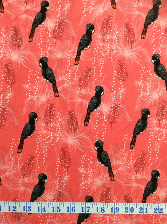 Outback Beauty Black Cockatoo Red Background Cotton Quilting Fabric 1/2 YARD