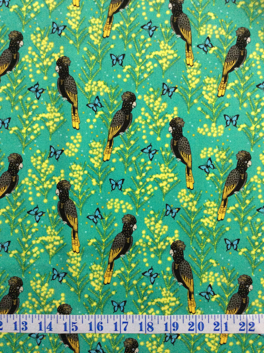 Outback Beauty Yellow Black Tailed Cockatoo Turq Cotton Quilting Fabric 1/2 YARD