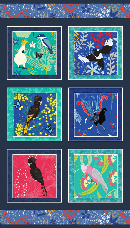 Outback Beauty Australian Birds Panel Black Cotton Quilting Fabric Panel
