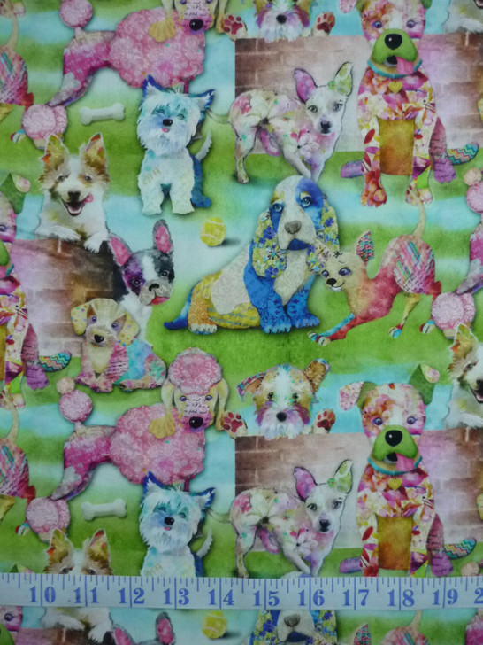 3 Wishes Good Dogs Too Green Cotton Quilting Fabric 1/2 YARD