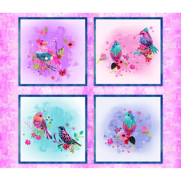 3 Wishes Bright Birds Collection Cotton Quilting Fabric Panel