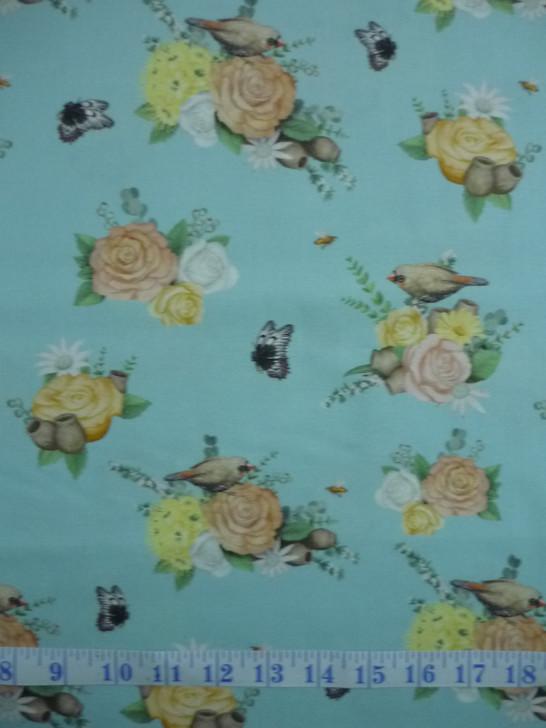 Australian Native Nursery  Roses Birds Moths Turquoise Cotton Quilting Fabric 1/2 YARD