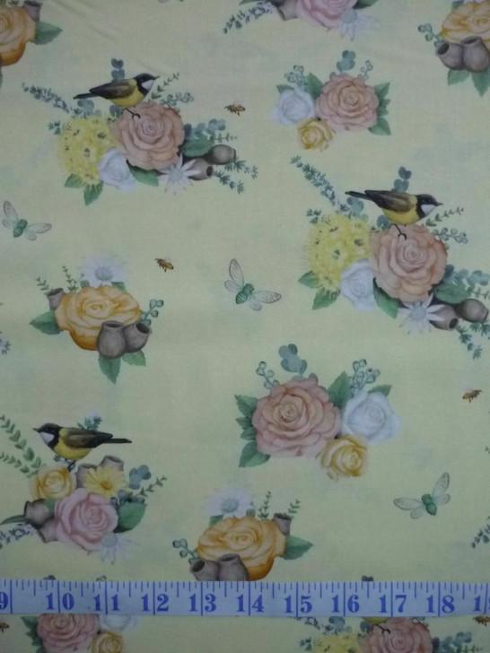 Australian Native Nursery Roses Birds Dragonflies Yellow Cotton Quilting Fabric