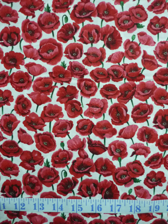 Red Poppies Field ANZAC White Background Cotton Quilting Fabric 1/2 YARD