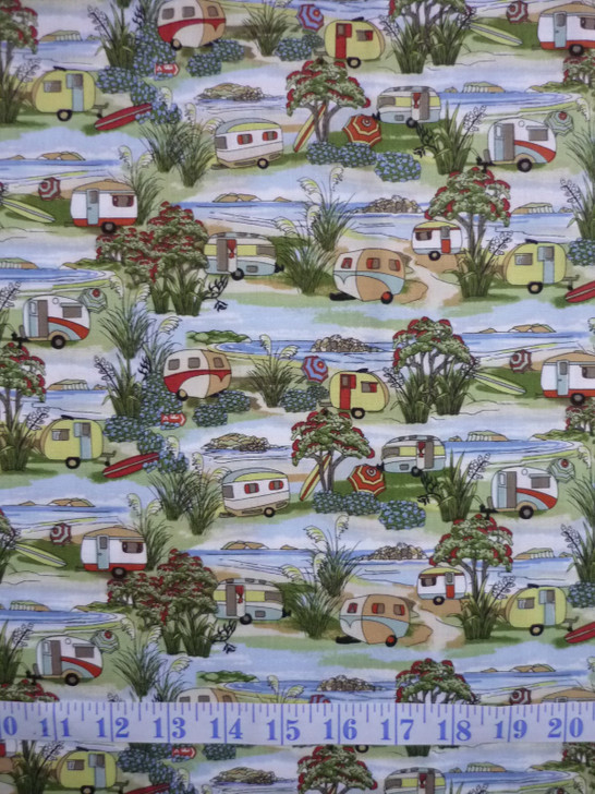 Caravans Retro Holidays Cotton Quilting Fabric 1/2 YARD