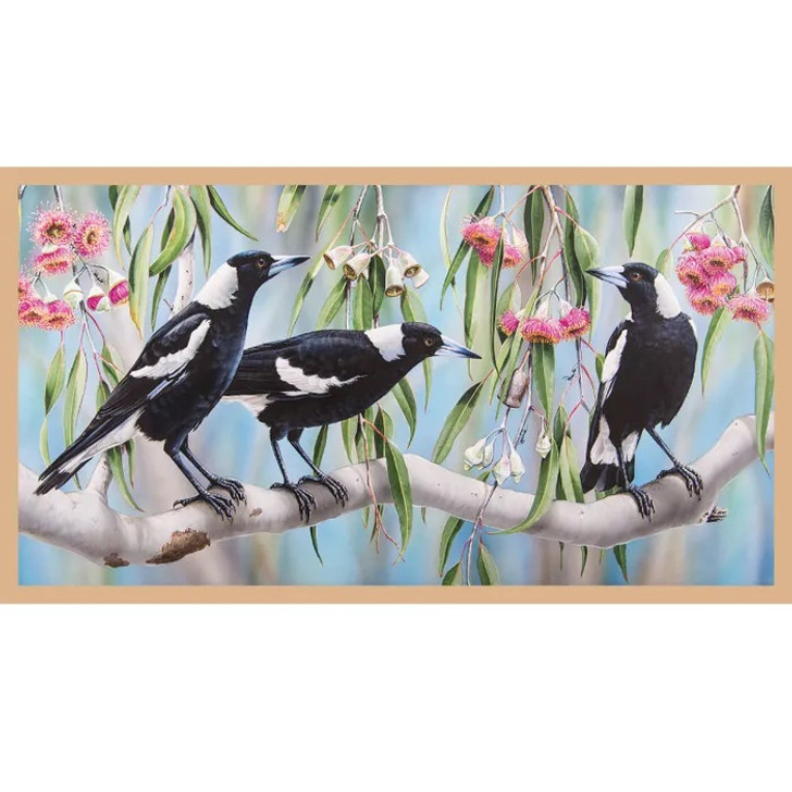 Australian Wildlife Art 3 Magpies Cotton Quilting Fabric Panel