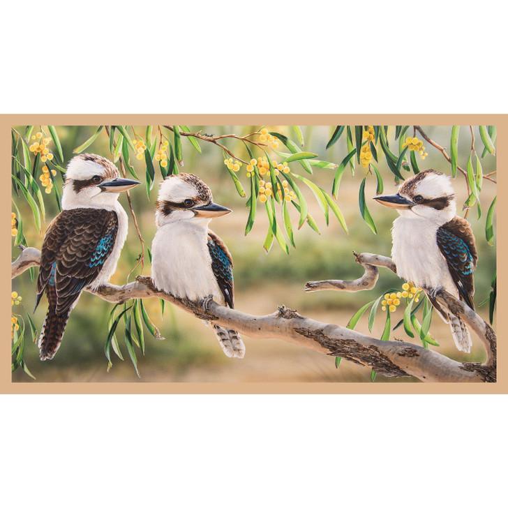 Australian Wildlife Art 3 Kookaburras Cotton Quilting Fabric Panel