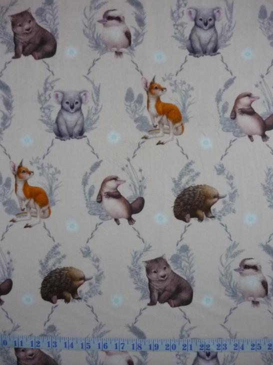 Australian Animals Little Aussie Friends Wreaths Pink Minkie Fabric
