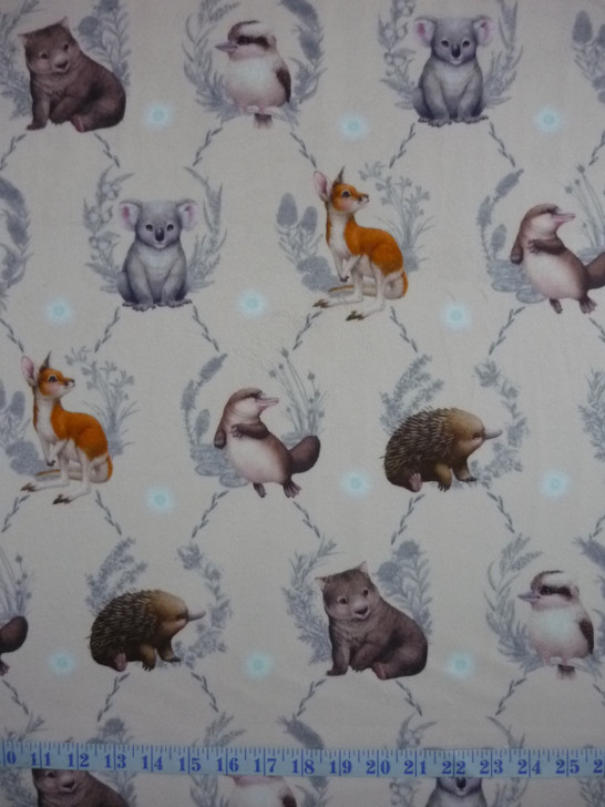 Australian Animals Little Aussie Friends Wreaths Pink Minkie Fabric