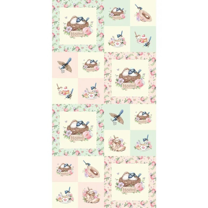 Little Wren Cottage Birds Cups Hats Floral Cotton Quilting Fabric Panel