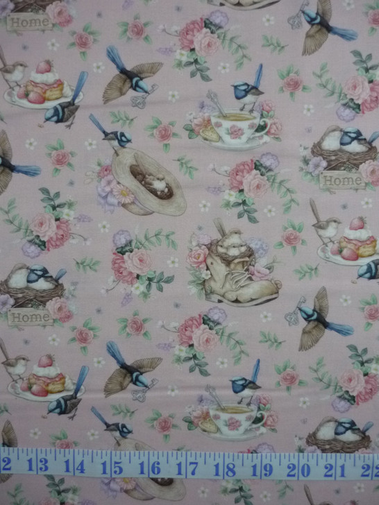 Little Wren Cottage Birds Cups Hats Floral Pink Cotton Quilting Fabric