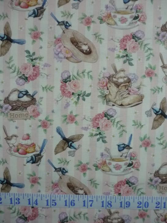 Little Wren Cottage Birds Cups Hats Floral Pink Stripe Cotton Quilting Fabric