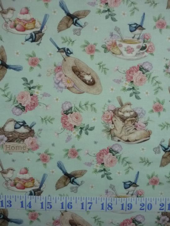 Little Wren Cottage Birds Cups Hats Floral Light Blue Cotton Quilting Fabric