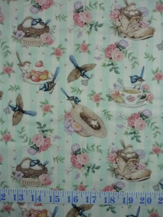 Little Wren Cottage Birds Cups Hats Floral Light Blue Stripe Cotton Quilting Fabric
