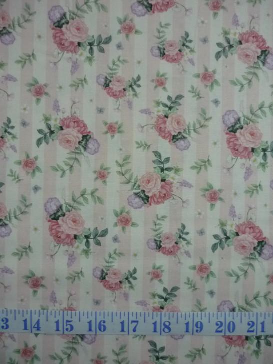 Little Wren Cottage Flowers Pink Stripe Cotton Quilting Fabric