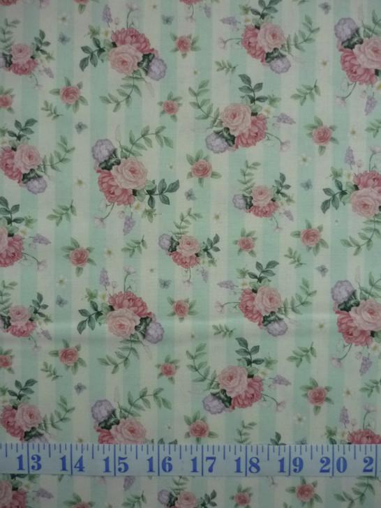 Little Wren Cottage Flowers Light Blue Stripe Cotton Quilting Fabric