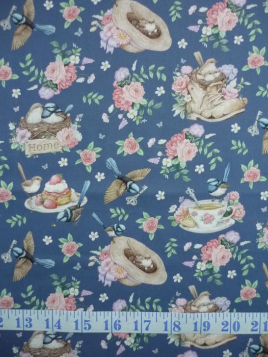 Little Wren Cottage Birds Cups Hats Floral Dark Blue Cotton Quilting Fabric