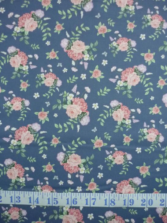 Little Wren Cottage Floral Blue Background Cotton Quilting Fabric