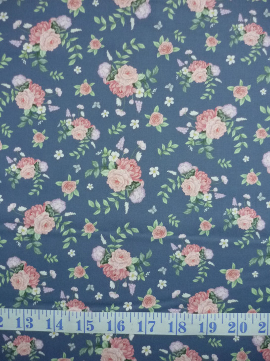 Little Wren Cottage Floral Blue Background Cotton Quilting Fabric