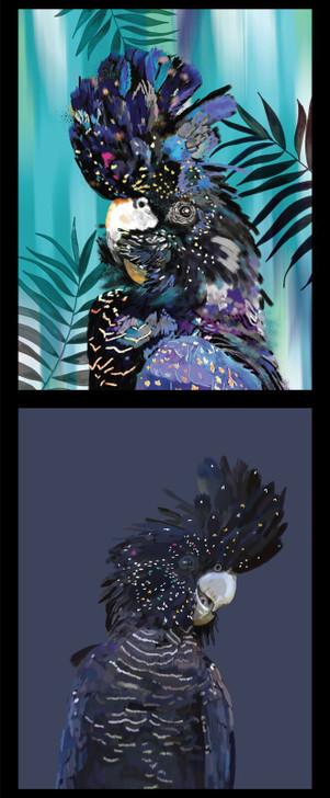 Botanical Birds Australian Black Cockatoos DV3477 Cotton Quilting Small Panel