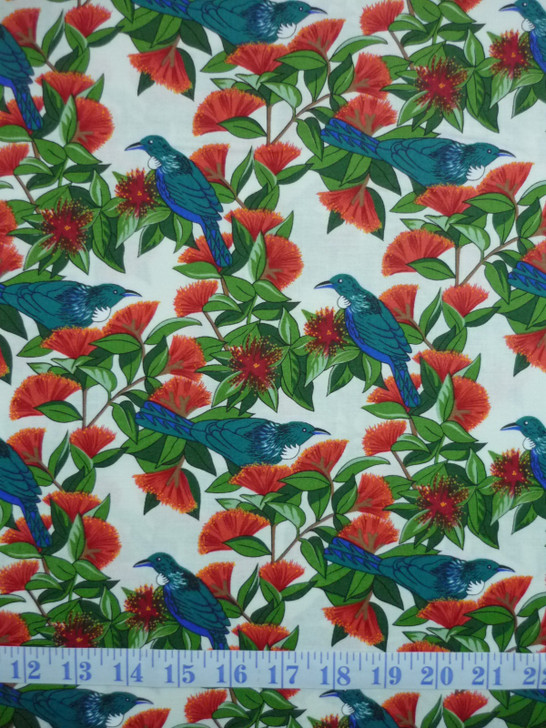 New Zealand Tui Bird and Pohutukawa Cream Cotton Quilting Fabric