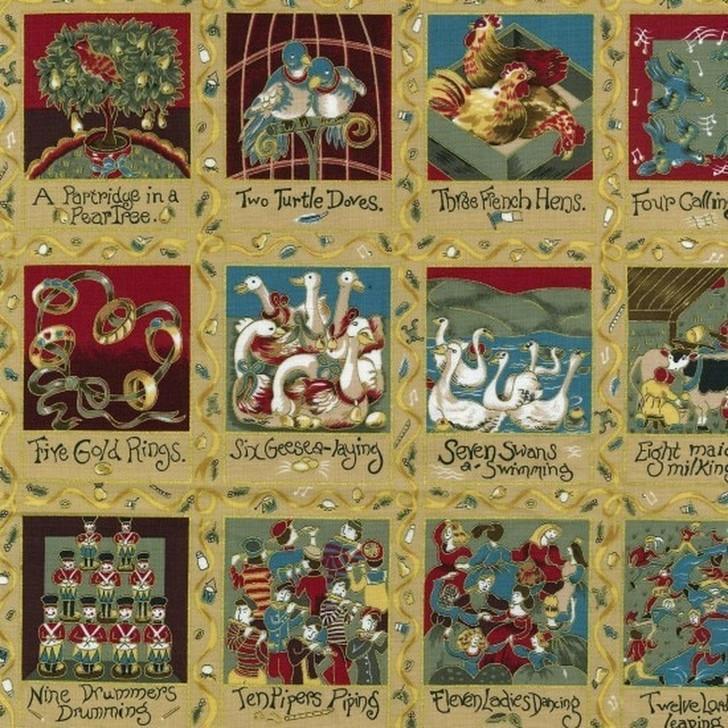 Twelve Days of Christmas Gold Metallic Highlights Cotton Quilting Fabric 1/2 YARD