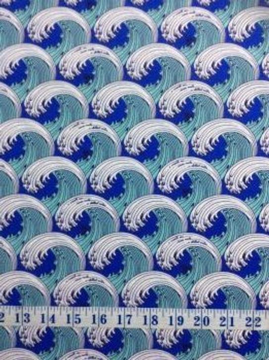 Zuma by Tula Pink White Caps Aquamarine Cotton Quilting Fabric 65cms
