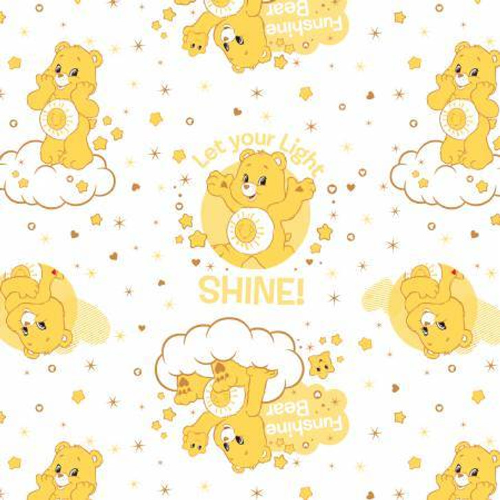 Care Bears Funshine Bear White Cotton Quilting Fabric 80cms