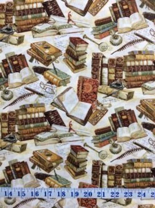 Books Victorian Vintage Parchment Pens Cotton Quilting Fabric 55cms