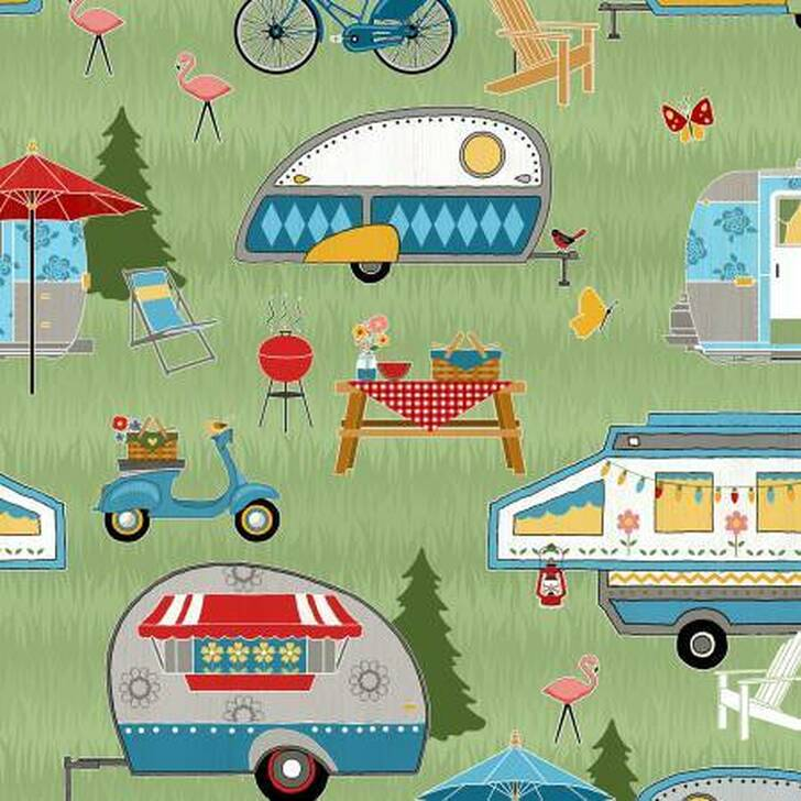 Lets Go Glamping Caravans Happy Camping Packed Green Cotton Quilting Fabric  60cms