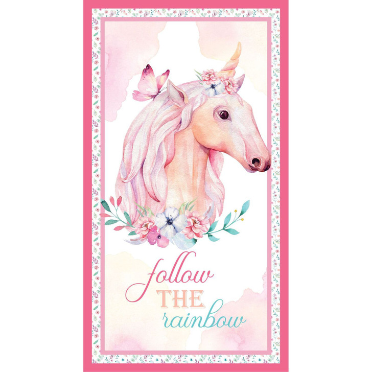 A Magical Time Unicorn Follow the Rainbow Cotton Quilting Fabric Panel