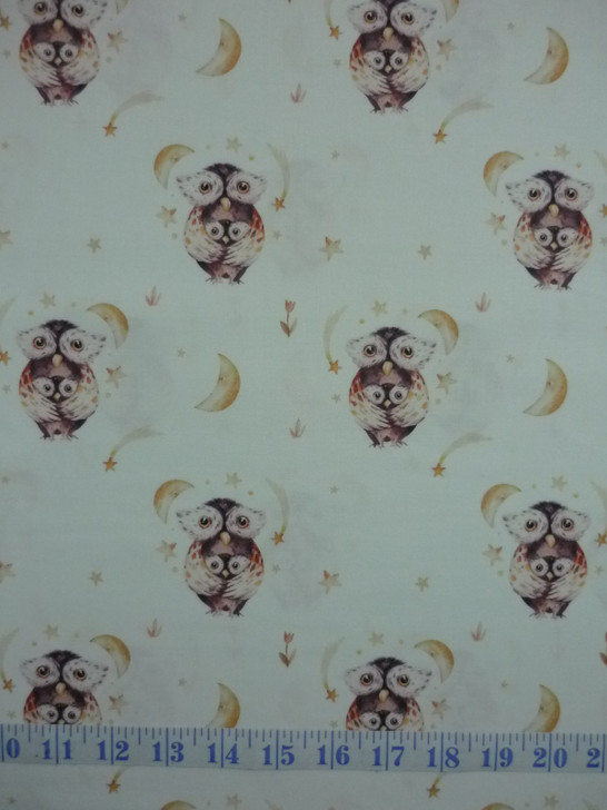 A Mother's Love Owl and Baby White Background DV3458 Cotton Quilting Fabric