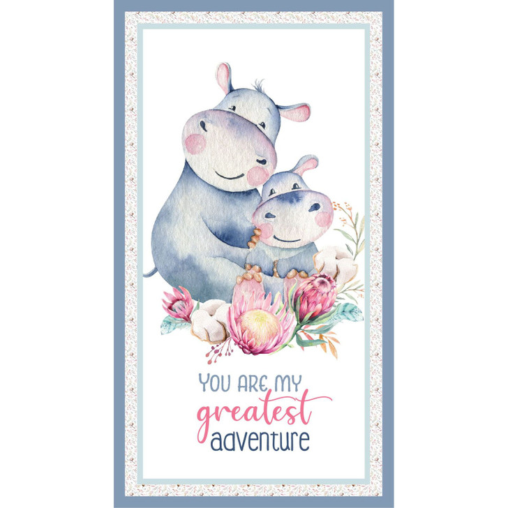 A Mother's Love Hippo and Baby DV3455 Cotton Quilting Fabric Panel