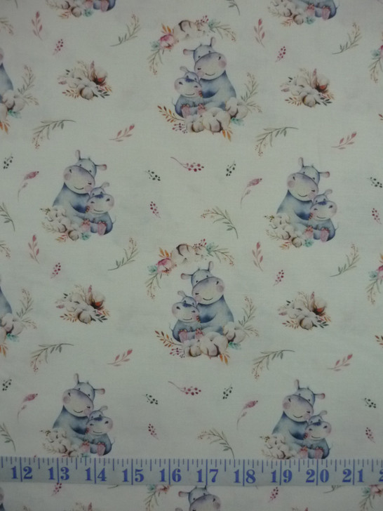 A Mother's Love Hippo and Baby White Background DV3460 Cotton Quilting Fabric