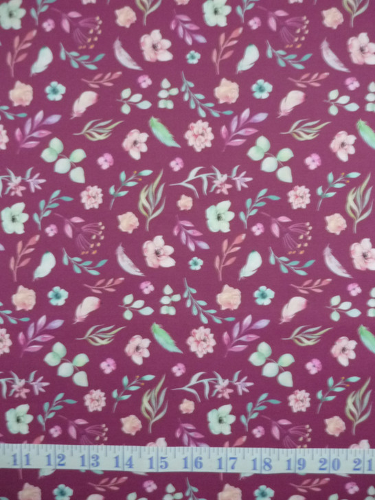 A Magical Time Floral Flowers and Leaves Maroon Background Cotton Quilting Fabric 1/2 YARD
