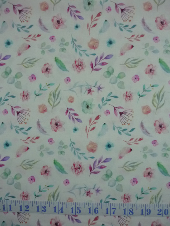 A Magical Time Floral Flowers and Leaves White Background Cotton Quilting Fabric