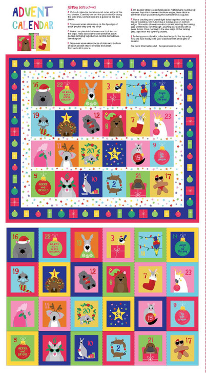 Aussie Christmas Festive Friends Advent Calendar Cotton Quilting Fabric Panel