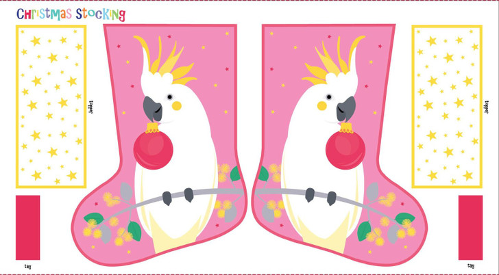 Aussie Christmas Festive Friends Cockatoo Stocking Cotton Quilting Fabric Panel