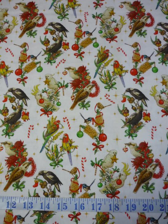 Aussie Christmas Bush Birds White Cotton Quilting Fabric