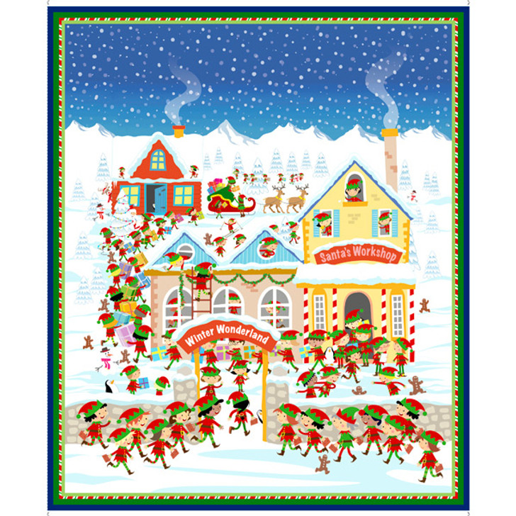 Father Christmas Santas Workshop Cotton Quilting Fabric Panel