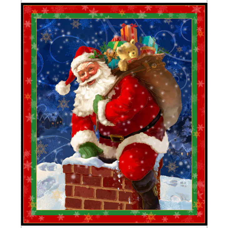 Father Christmas Gifts From Santa Cotton Quilting Fabric Panel