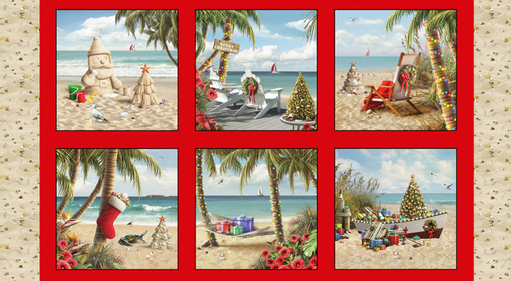 Sandy Clause Christmas Red Cotton Quilting Fabric Panel