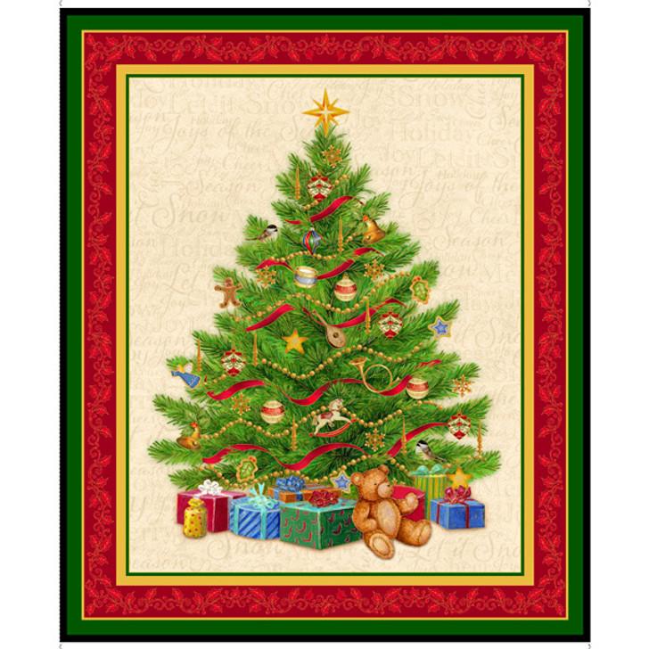 O Tennenbaum Christmas Tree Cotton Quilting Fabric Panel