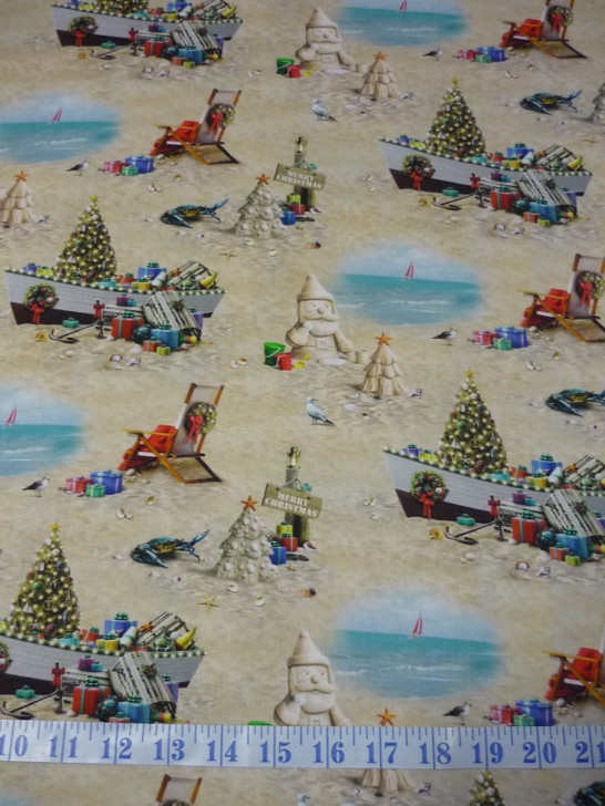 Sandy Clause Christmas Sand Cotton Quilting Fabric