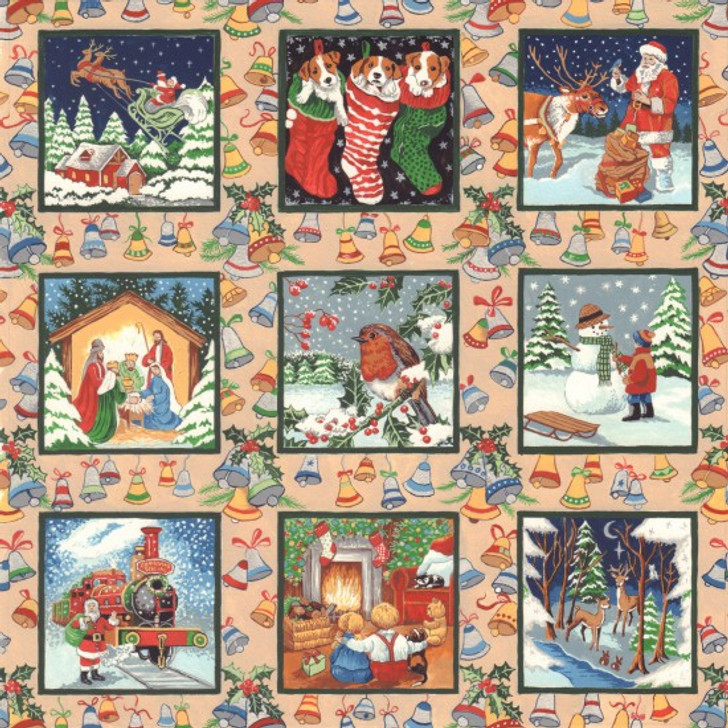 Christmas Festive Scenes Squares Metallic Highlights Cotton Quilting Fabric