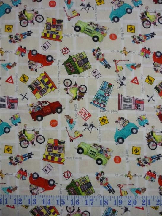 Quilt Shop Hop Toss Tan Cotton Quilting Fabric