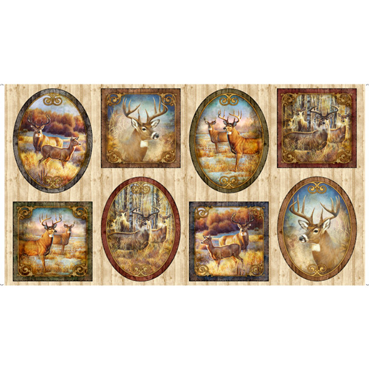 Deer Meadow Vignette Patches Cotton Quilting Fabric Panel