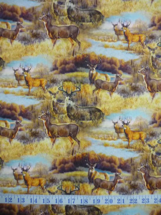 Deer Meadow Deer Scenic Cotton Quilting Fabric