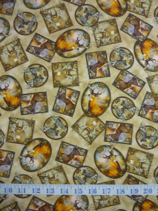 Deer Meadow Deer Patches Tossed Tan Cotton Quilting Fabric